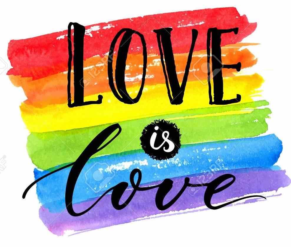 80598120 love is love lgbt pride slogan against homosexual discrimination modern calligraphy on rainbow water